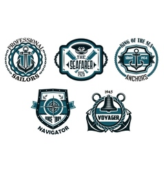 Nautical retro blue emblems with maritime symbols vector