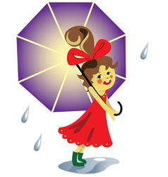 Girl with umbrella vector