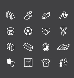 Soccer element white icon set on black background vector
