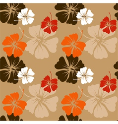 Hibiscus pattern in beige vector