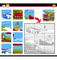 Transportation jigsaw puzzle game vector