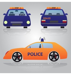 Color police car from front back and side view vector