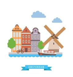 Amsterdam flat background vector