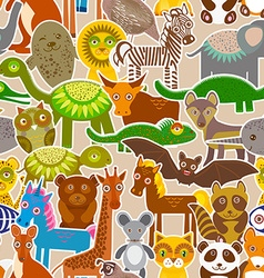 Collection funny cartoon animals seamless pattern vector