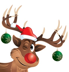 Rudolph the reindeer winking with christmas balls vector