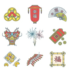 Colored outline chinese new year icons set vector