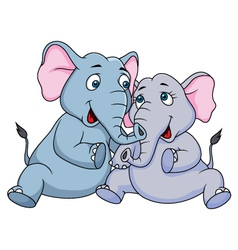 Cute couple elephant cartoon vector
