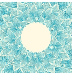 Blue and beige orchid flower frame vector