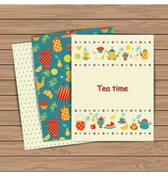 Tea time card set vector