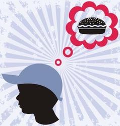 Boy and hamburger vector
