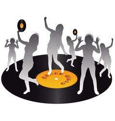 Gray silhouettes dancing on vinyl on a white backg vector