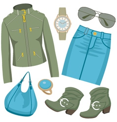 Fashion set with skirt and a jacket vector