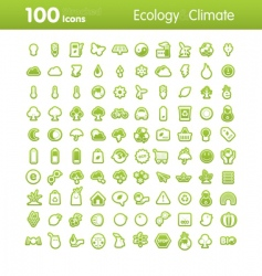 100 icons ecology and climate vector