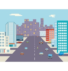 Car ride driving city street background flat vector