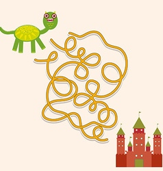 Dragon and castle labyrinth game for preschool vector