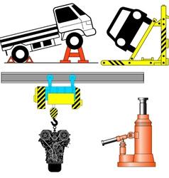 Set device for lifting a car repair vector