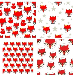 Set of seamless pattern with cute foxes vector