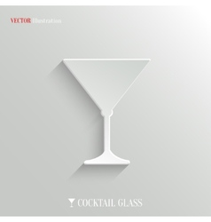Cocktail glass icon - white app button vector