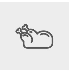Raw chicken thin line icon vector