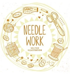 Needle work design vector