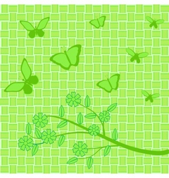 Green flowers and butterflies on green background vector