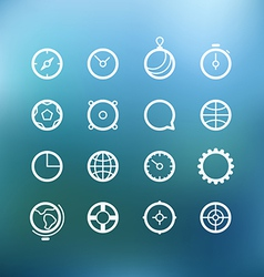 White circle icons clip-art on color background vector