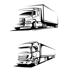 Container trucks in silhouette style vector