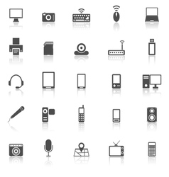 Gadget icons with reflect on white background vector