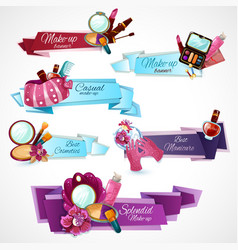Cosmetics banner set vector
