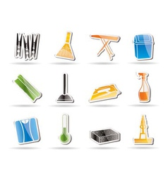 Simple home objects and tools icons vector