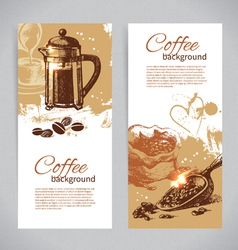 Banner set of vintage coffee backgrounds vector