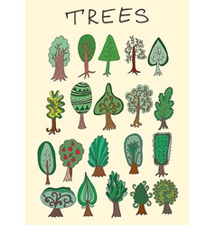 Set of hand-drawn doodle forest tree vector