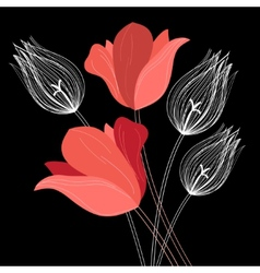 Beautiful bouquet of tulips vector