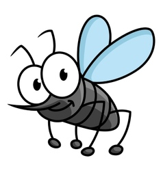 Funny smiling gray mosquito cartoon character vector
