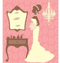 Beautiful bride in dressing room vector