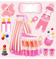 Pink set of childrens cradle beanbag vector