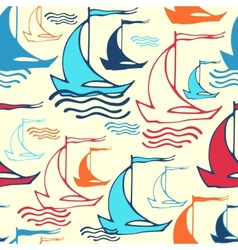 Seamless pattern with decorative retro sailing vector