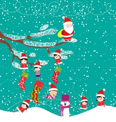 Kids with santa claus enjoying christmas vector