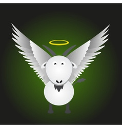 White saint goat with great white wings eps10 vector