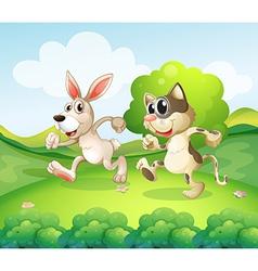 Cartoon cat bunny vector