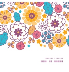 Colorful oriental flowers horizontal frame vector
