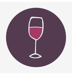 Hand-drawn glass of wine icon  isolated on the vector