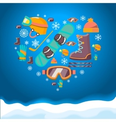 Winter sports background with snowboard equipment vector