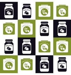 Olives jar and can seamless pattern vector
