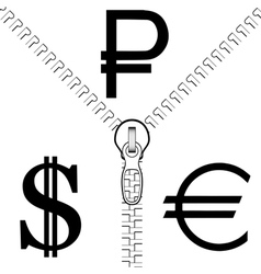 Zipper rouble euro dollar vector