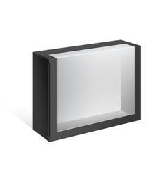 Black package box with a transparent window vector