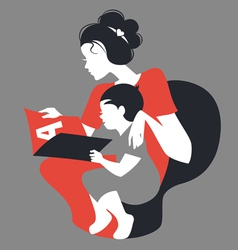 Beautiful silhouette of mother and baby reading vector
