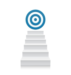 Stairs with blue target icon isolated on white vector