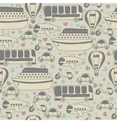 Cute seamless pattern with transport cartoon vector