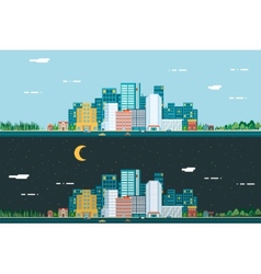 Day and night urban landscape city real estate vector